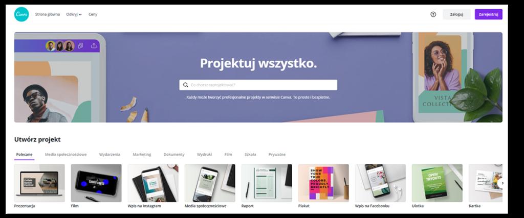 Canva - grafika na strony WWW. Aplikacja online